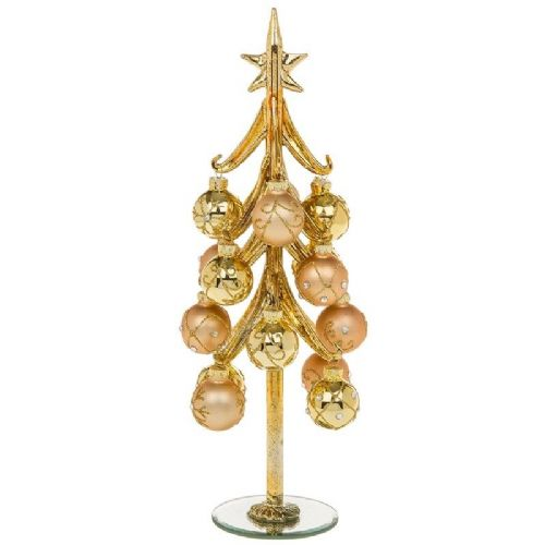 Extra Large Classic Gold Glass Christmas Tree with Gold Jewelled Baubles